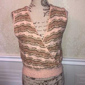 Vintage Sleeveless Wrap Style Knit